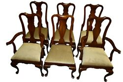 Vintage Set Of Six Hitchcock Mahogany Queen Anne Dining Chairs