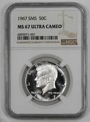 1967 Sms Kennedy Half Dollar 50c Ngc Ms 67 Mint Unc - Ultra Cameo 001