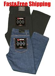 Mens Jeans Regular Fit Relaxed Denim Long Traditional Work Pants Sizes 32 To 42