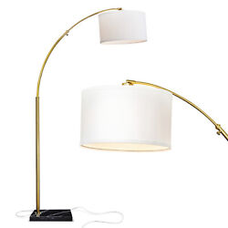 Brightech Logan Arc Floor Lamp W/ Bulb And Drum Shade Antique Brass For Parts
