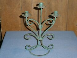 Antique Old Wrought Iron Scroll Green Paint Three Candle Stick Holder Candelabra