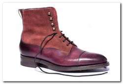 Edward Green And039galwayand039 Boot Burgundy Antique Calf W/ Suede 11/11.5 D 82 1600