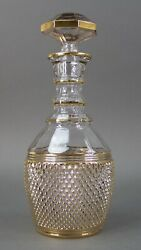 Rare Vintage Gorgeous Gold Crystal Decanter Bottle With Stopper 12 Tall