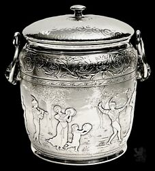 Vintage Antique Reed Barton Tobacco Biscuit Jar Silver Plate Figural Repousse
