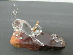 Vintage Crystal Glass Cat And Mouse Fighting Wood Base Figurine