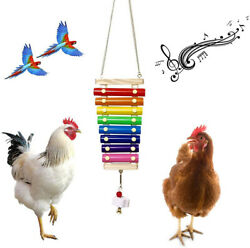 Chicken Hens Parrots Xylophone Toy Suspensible Wood Coop Pecking Toy
