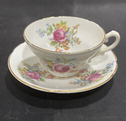 Stanley Fine English Bone China Tea Cup And Saucer Pink Yellow Roses Flowers Vtg