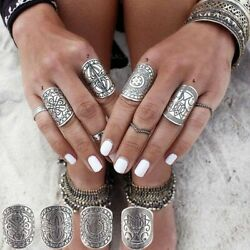Ring Set Antique Tibetan Silver Gypsy Boho Knuckle Rings For Woman 4pcs/set