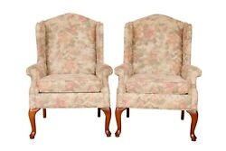 Queen Anne Floral Wingback Chairs By Rowe Furniture - A Pair