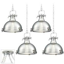 Chrome Dome Swag Pendant Chandelier Industrial 4-light Fixture Kitchen Island
