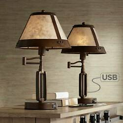 Rustic Industrial Desk Lamps Set Of 2 Usb Port Bronze Mica Shade For Office