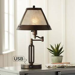 Traditional Desk Lamp Swing Arm With Usb Bronze Natural Shade For Office Table