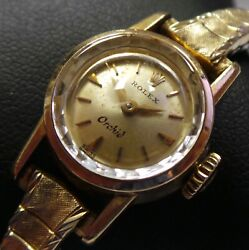 Vintage 18k Yellow Gold Rolex Orchid Swiss Mechanical Watch 17 Jewels 15mm