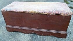 Early Blanket Chest Trunk Antique Aafa Primitive Box Old Wallpaper Lined Red