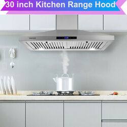 30 Inch Range Hood Wall Mounted 350 Cfm Touch Control Vented Led Lights Kitchen