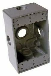 Hubbell 5332-0 Single Gang Weatherproof Box 5-3/4 Outlets Gray - Pkg Qty 20