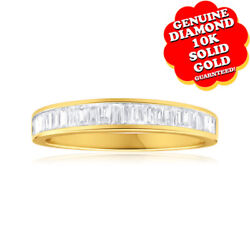0.5 Ct Baguette Cut White Natural Diamond 10k Yellow Gold Eternity Ring