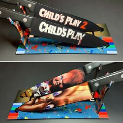 Childs Play 1 And 2 Knife Set With Laser Engraved Stands