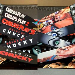Childs Play Chucky 6 Knife Set With Laser Engraved Stands