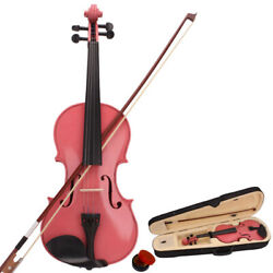 1/4 3/4 1/8 Pink Acoustic Violin With Case Bow Rosin Music Gift For Kids Adult