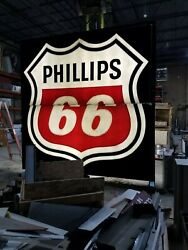 Philips 66 Gas Station Sign - Fully Illuminated - Authentic 12and039 X 12and039 2 Pieces