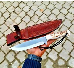 Drop Point Knife Fixed Blade Hunting Wild Survival Tactical Combat Antler Handle