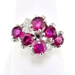 Ring Ruby And Diamond Round Multi-stone Cluster 2.62 Ctw 14k White Gold Size 6.5
