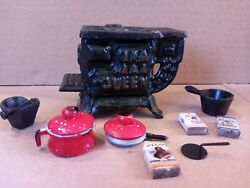 Antique Queen Cast Iron Oven Toy Stove Lot Pots Pan Lids Tin Cans Doll Kitchen
