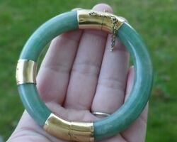 Gorgeous 18kt Yellow Gold And Celadon Colored Jade Bangle - 7 1/4