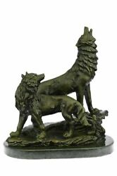 Bronze Sculpture, Hand Made Statue Animal Large Signed Lopez Two Wolves Wolf Nr