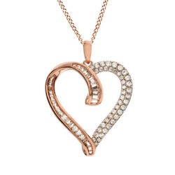 1/2 Ct Baguette And Round Cut Diamond Heart Pendant 10k Rose Gold Valentine Gifts