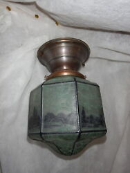 Arts And Crafts Brass Flush Mount Ceiling Fixture W Crackle Art Glass Scenic Shade