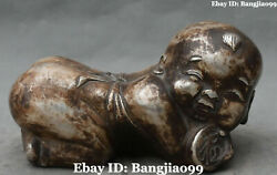 9 Chinese Old Silver Ancient Nude Tongzi Kid Boy Pillow Weeping Willow Statue