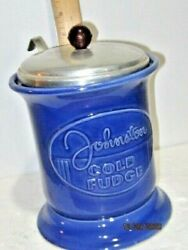 Vintage Johnsons Cold Fudge Syrup Container With Lid And Dipper