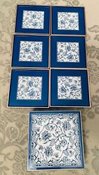 Otagiri Collectible Blue Flowers Lacquered 6 Coasters And Box Mary Ann Baker Japan