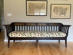 Early American Antique Wooden Crewel-work Upholstery Sofa Bench Couch Furniture