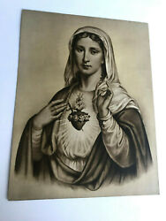 Antique Taber Prang Springfield Ma Litho Sacred Heart Of Mary 456 12x 9