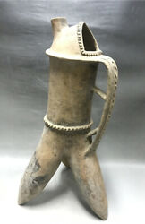 Chinese Old Neolithic Qijia Culture Pottery Horse Milk Pot Tank Jar