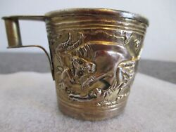Ilias Lalaounis Gold Overlay 900 Silver Greek Minoan Style 1.7/8 Cup Signed 60g