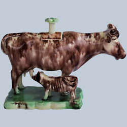 C1760 Staffordshire Cow Creamer With Calf Whieldon Type