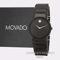 Authentic Movado Mens Pvd Stainless Steel Case Black Dial Watch 0606307