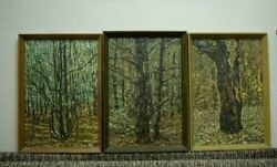 Oil Hand Made Painting Triptych Youth Maturity Old Age Dorozhinsky V.f 1979 Mark