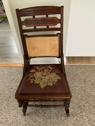 Eastlake Rocking Chair With Needlepoint Upholstered Seat Late 19th Century