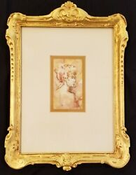 Antique Original Painting Lady Woman Profile In Gold Antique Frame Female Art