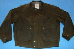 Vtg. Browning Hunting Shooting Jacket Waxed Cotton Flannel Lined Menand039s Xl Euc