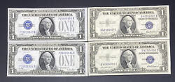 1928, 1935 1 One Dollar Silver Certificates Notes Consecutive Sets Of Two