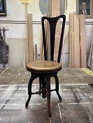 Antique Victorian High Back Adjustable Piano Stool