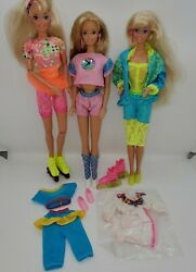 Vintage 80s 90s Barbie Rollerblading Sport Skates Fun Times Outfits Dolls Lot