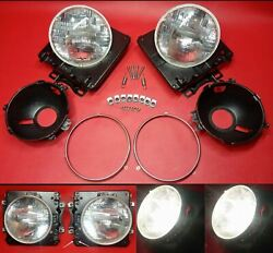 73-77 Ford Truck Headlight Bucket Brackets Pair Left And Right And Bulbs Work 100