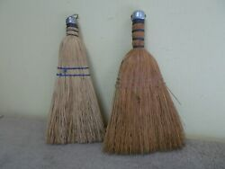Vintage Pair Whisk Brooms Farm House Country Decor Hand Straw Hanging